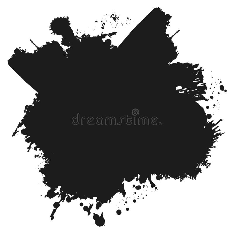 Black monochrome ink or paint blots grunge background. Texture Vector. Dust overlay distress grain. Black splatter stock illustration