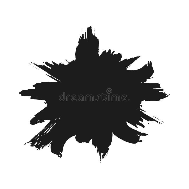 Black monochrome ink or paint blots grunge background. Texture Vector. Dust overlay distress grain. Black splatter vector illustration