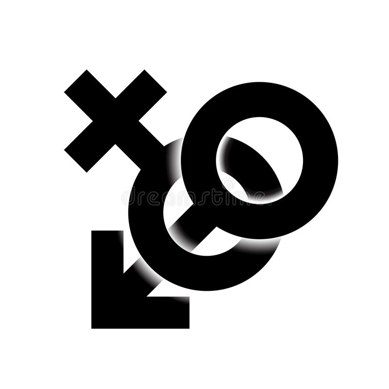 Black monohrome Sex icon illustration. Male and female sex symbol woven and isolated in light background. Sign gender 3d. Vector royalty free illustration