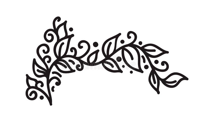 Black monoline flourish vintage monogram vector with leaves and flowers. Corners and dividers for Valentines Day royalty free illustration