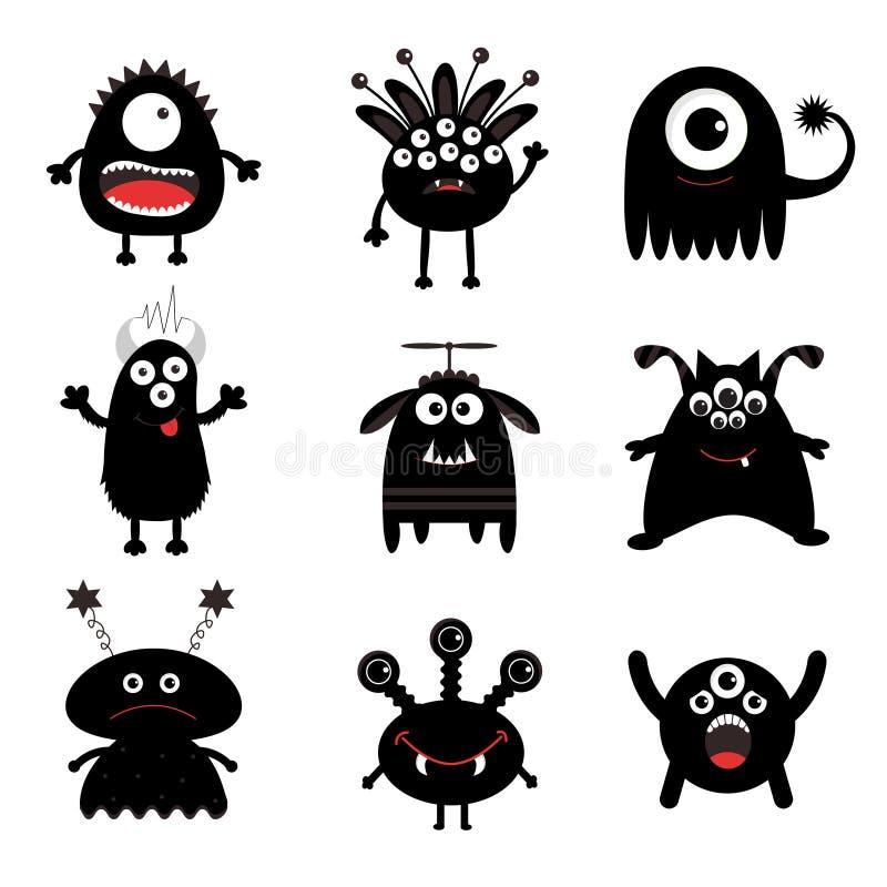 Black Monster Big Set. Cute Cartoon Scary Silhouette ...