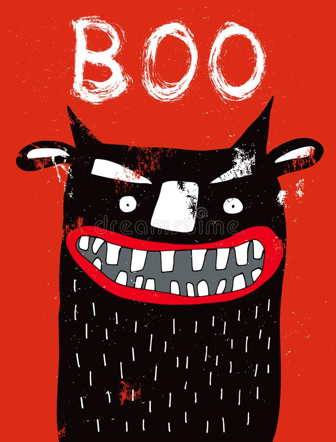 Black Monster with Glowing Eyes and Big White Teeth. Funny Halloween Decoration. stock images