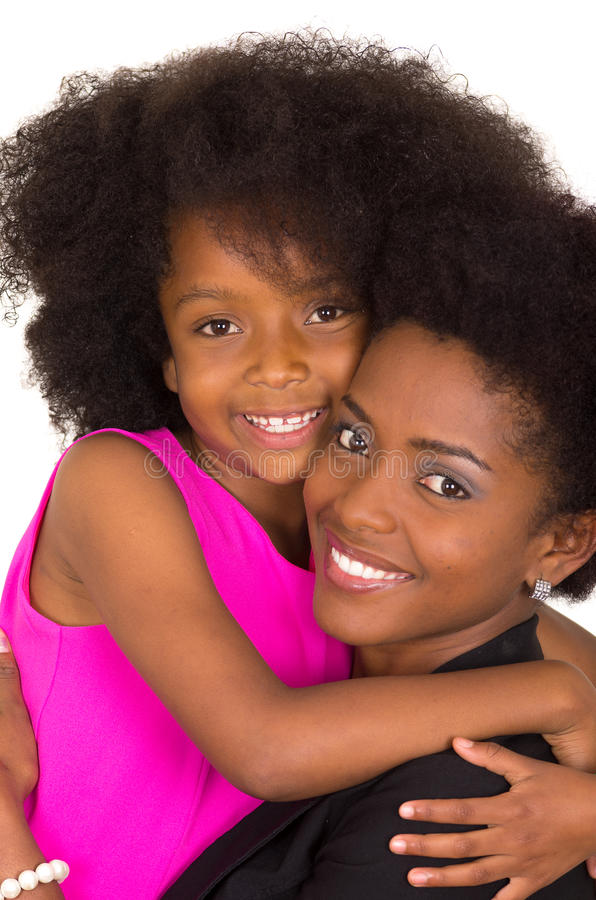 Free Black Mother Daughter Posing Happily Royalty Free Stock Images - 57049379