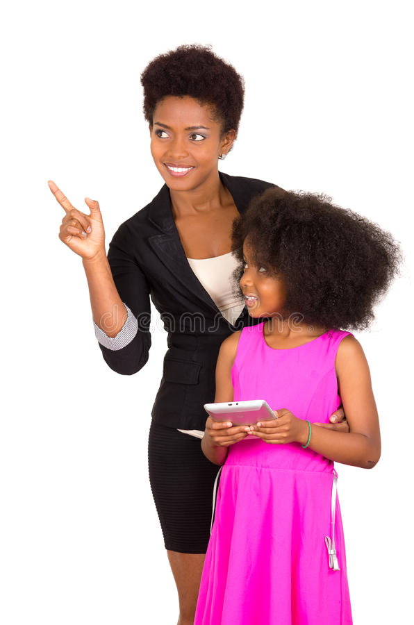 Black mother daughter posing happily royalty free stock images