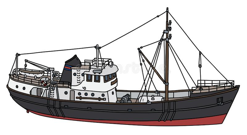 The black motor boat. The vectorized hand drawing of a black motor boat vector illustration