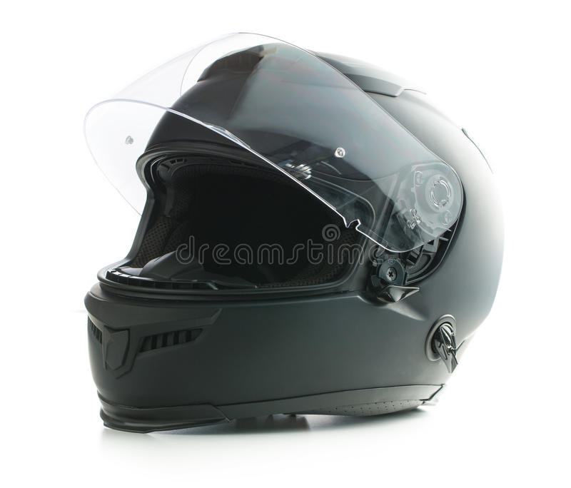 Black motorcycle helmet. royalty free stock photography