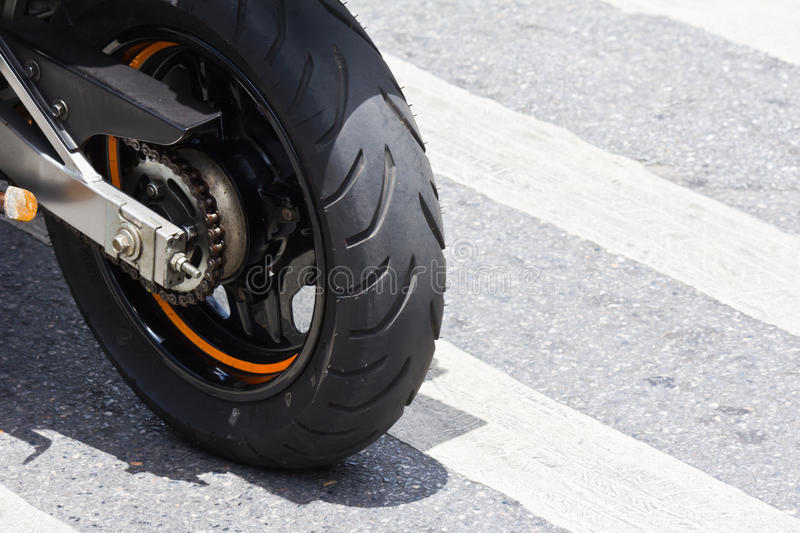 Black Motorcycle wheel details tire. In thailand stock photo