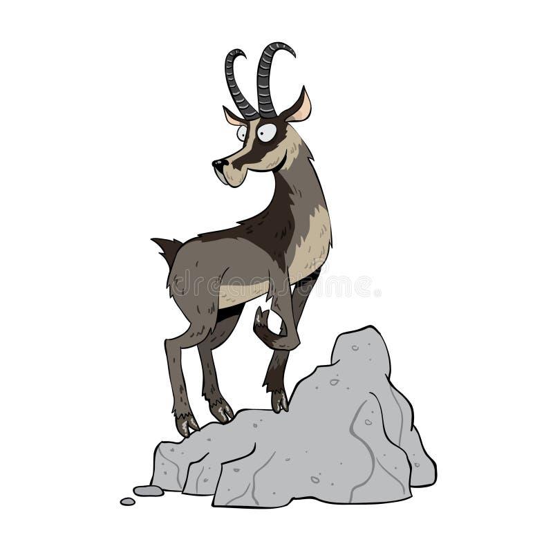 Black mountain goat. Standing on cliffs stock illustration