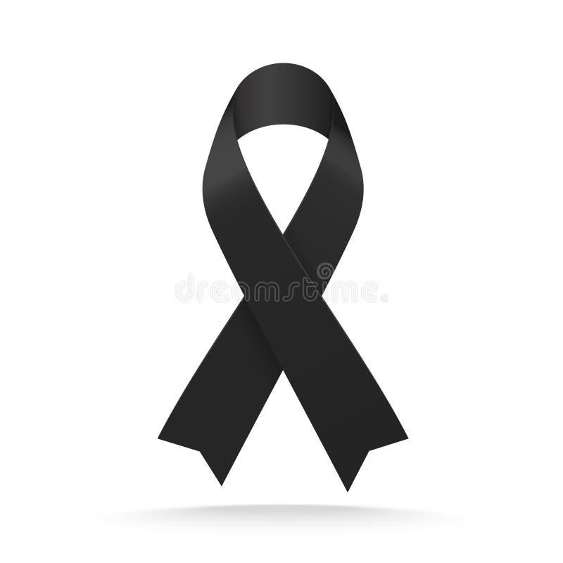 Free Black Mourning Ribbon Isolated On White Background. Vector Illustration Stock Images - 113213924