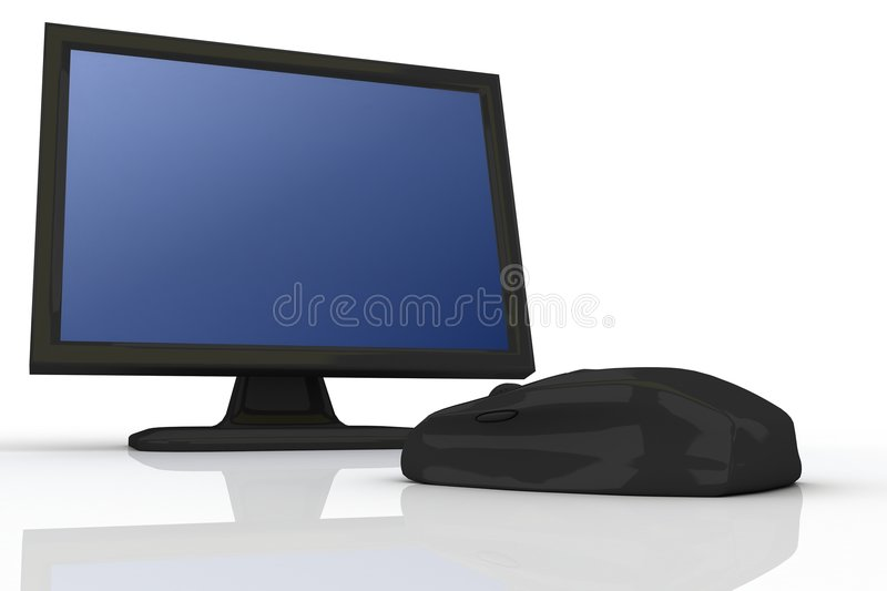 Download Black Mouse And Black Monitor 2 Stock Photo - Image: 4878576