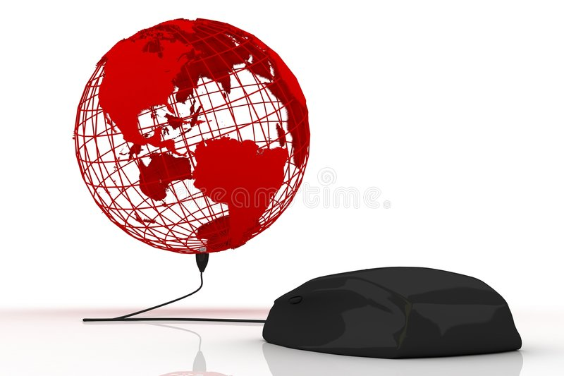 Black mouse connected to the world vector illustration