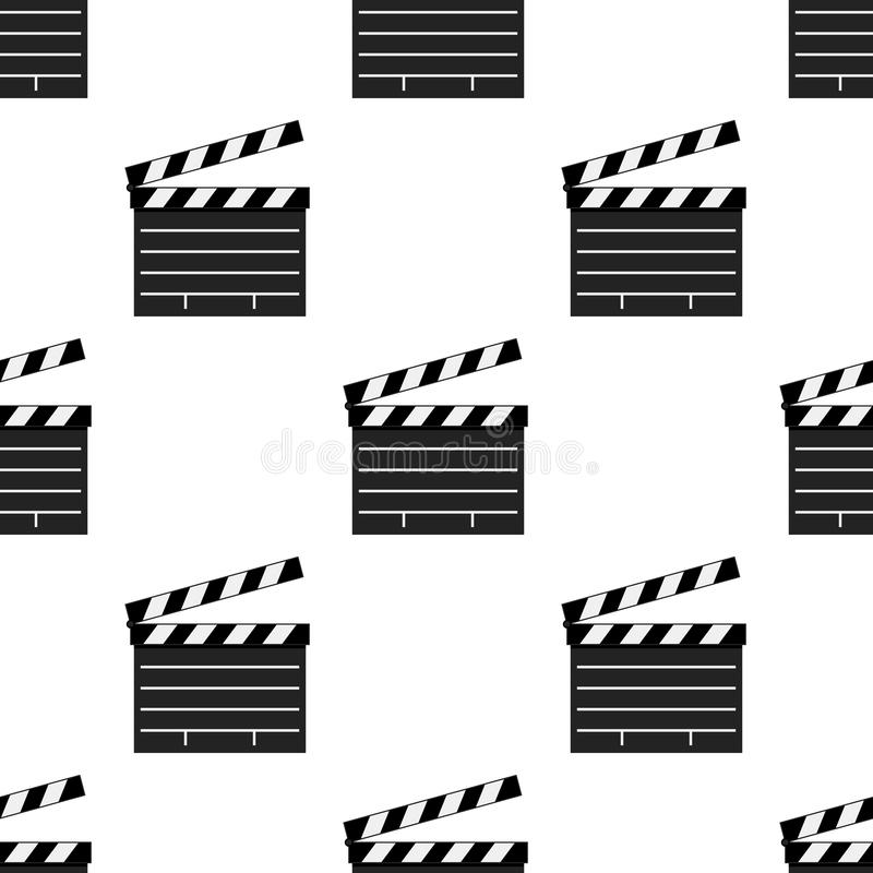 Black Movie Clapboard Seamless Pattern stock illustration