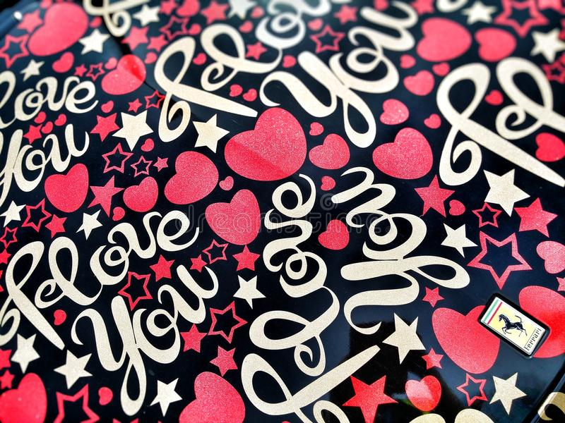 Black and Multicolored I Love You Heart Printed Textile royalty free stock images