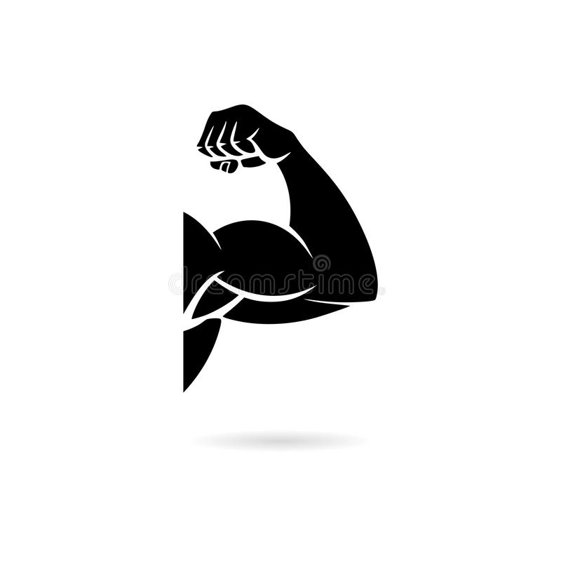 Black Muscular arm icon or logo. On white royalty free illustration