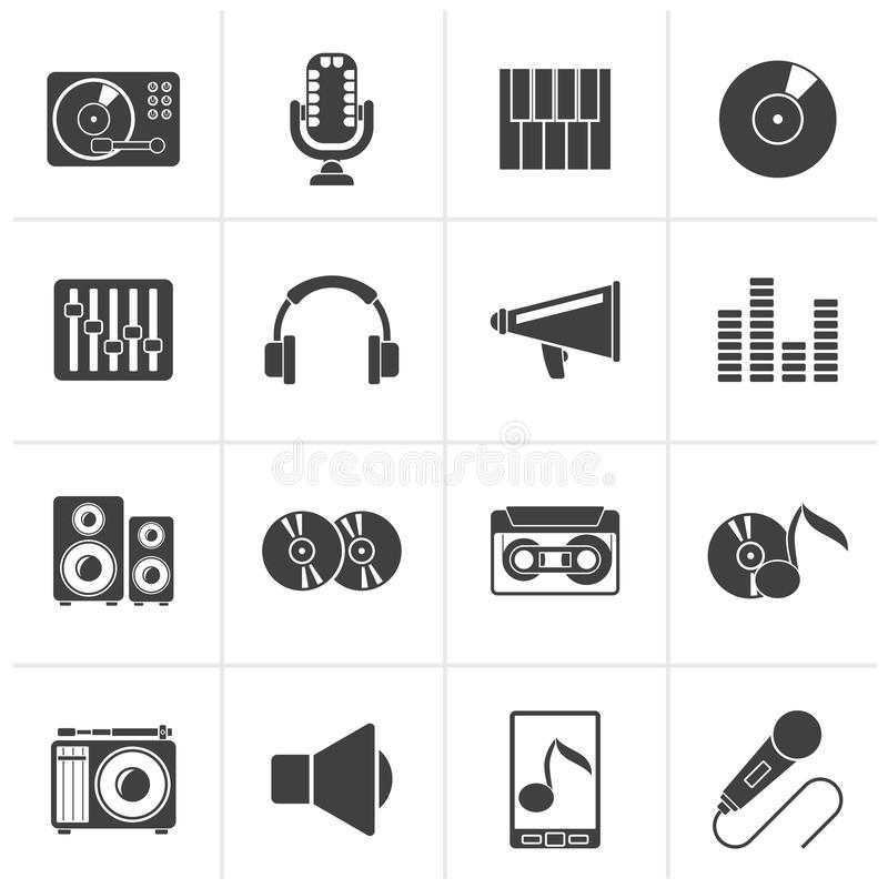 Black Music and audio equipment icons stock illustration