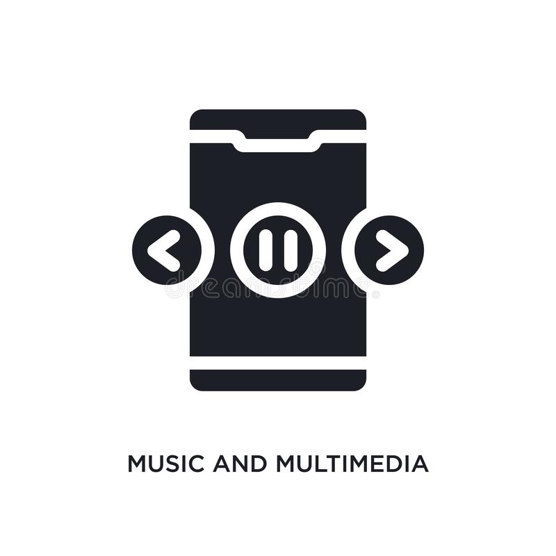 Black music and multimedia isolated vector icon. simple element illustration from mobile app concept vector icons. music and. Multimedia editable logo symbol royalty free illustration