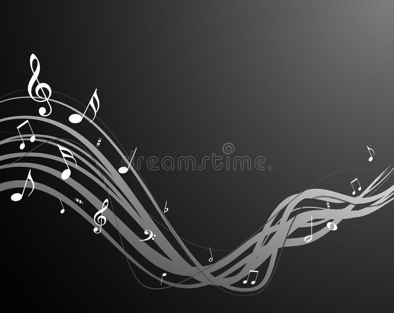 Black music notes. High quality black music stream with notes vector illustration