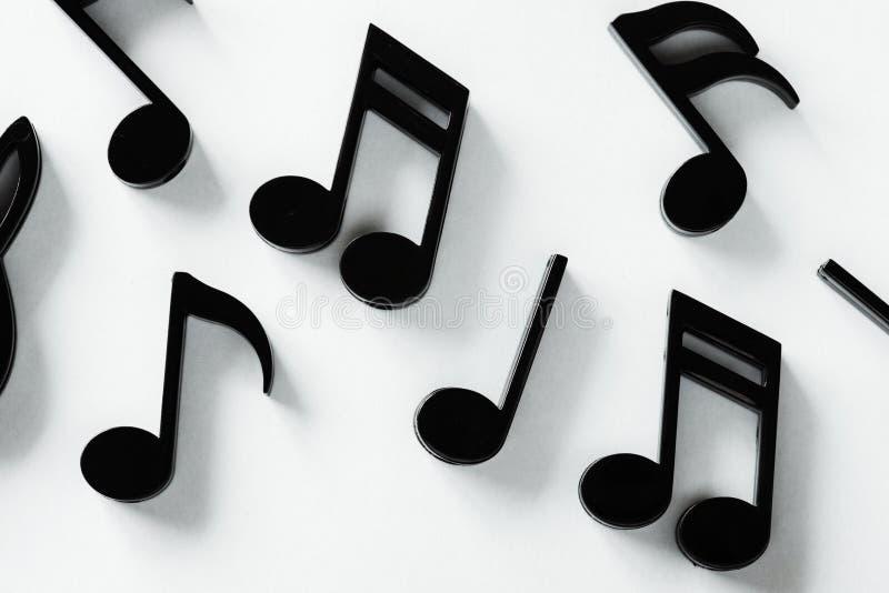 Black music notes isolated on white background royalty free stock photo