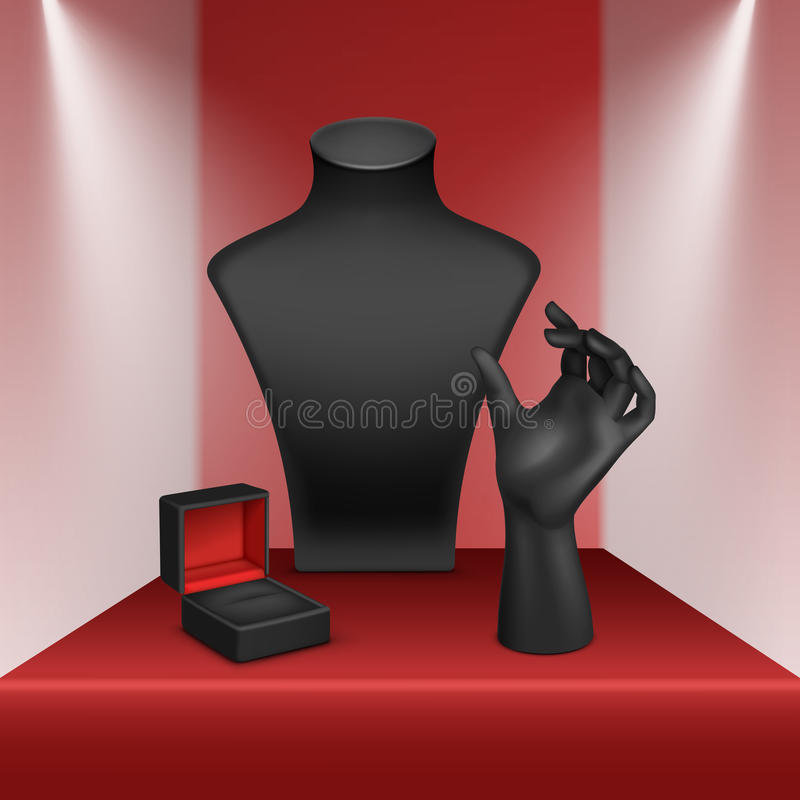 Black Necklace Bracelet Ring Stand Jewelry Jewellery Box Red Showcase vector illustration