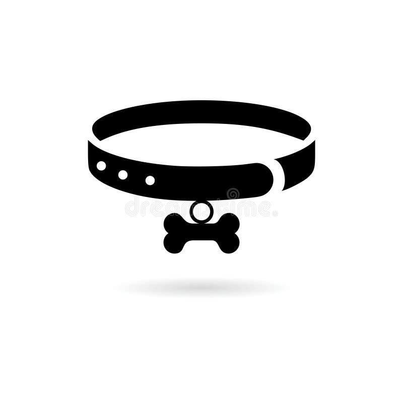 Black Necklace dog illustration design icon or logo. On white vector illustration