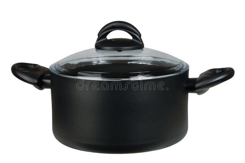 Black new saucepan royalty free stock photos