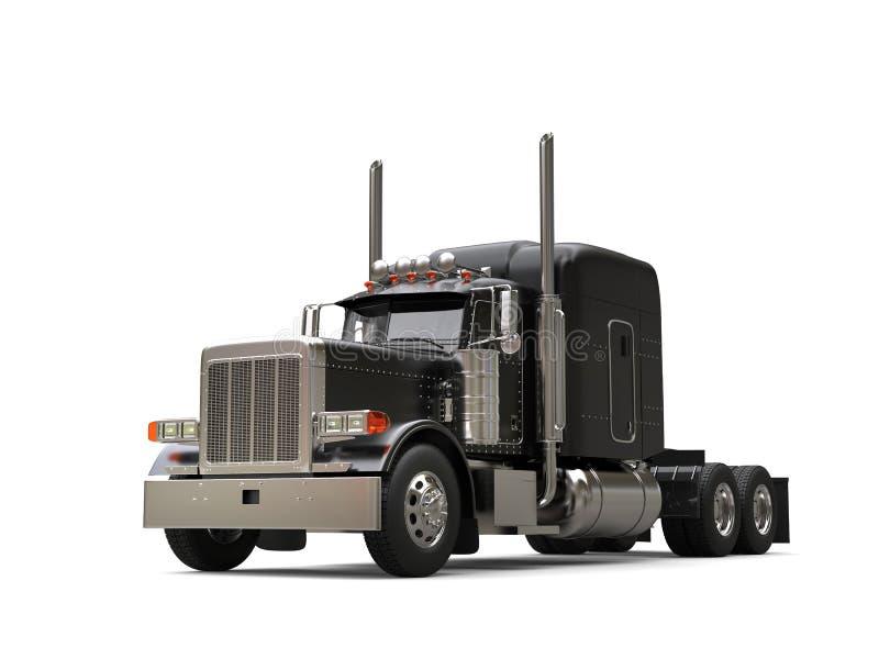Black new shiny long haul truck. Isolated on white background stock illustration