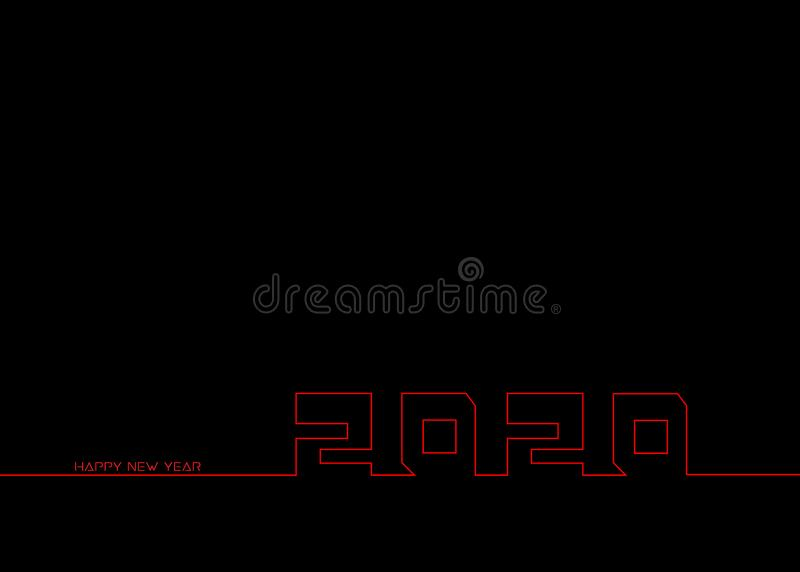 Black New Year background. Happy New Year 2020 logo text in line style design, red neon sign. Cover of business diary for 2020 royalty free illustration
