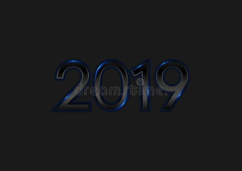 Black New Year 2019 with blue neon lights background stock illustration