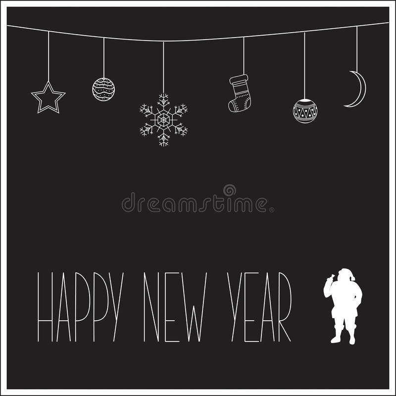 Black New Year card with white silhouette of Santa Claus and text. Vector illustration stock photography
