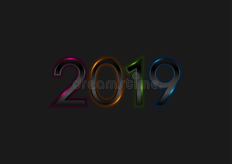 Black New Year 2019 with colorful neon lights background royalty free illustration