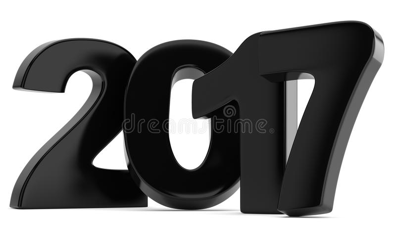 Black 2017 New year digits isolated on white background stock illustration