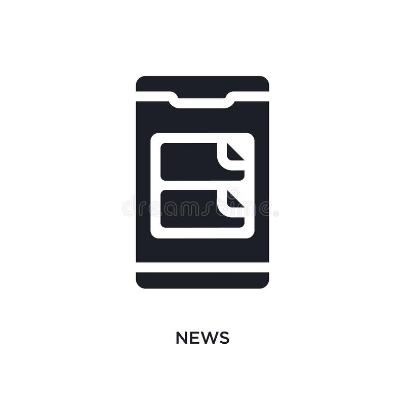 Black news isolated vector icon. simple element illustration from mobile app concept vector icons. news editable logo symbol. Design on white background. can be stock illustration