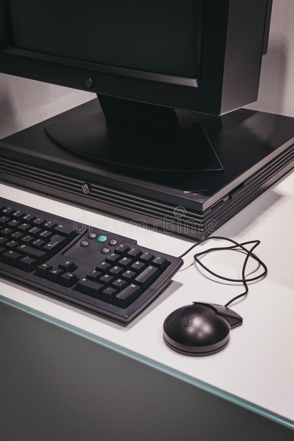 Black NEXT computer on exhibit inside Apple Museum in Prague, Czech Republic. Prague, Czech Republic - August 28, 2018: Black NEXT computer on exhibit inside stock photos
