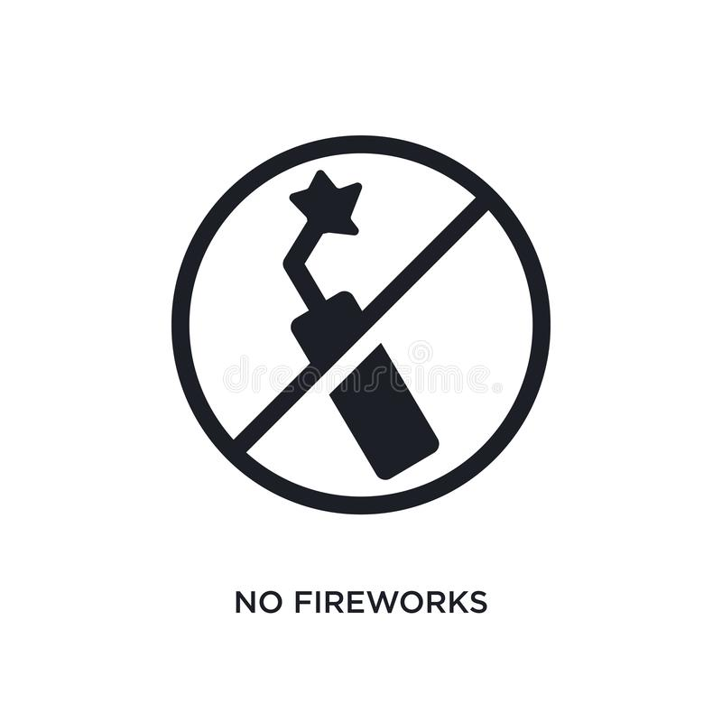 black no fireworks isolated vector icon. simple element illustration from traffic signs concept vector icons. no fireworks royalty free illustration