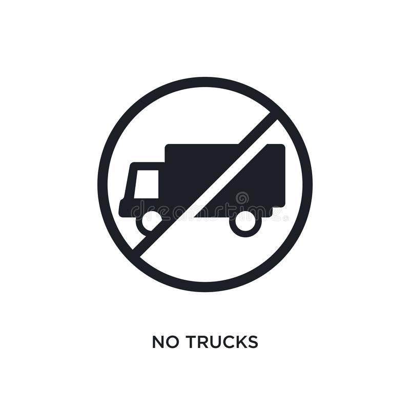 black no trucks isolated vector icon. simple element illustration from traffic signs concept vector icons. no trucks editable logo royalty free illustration