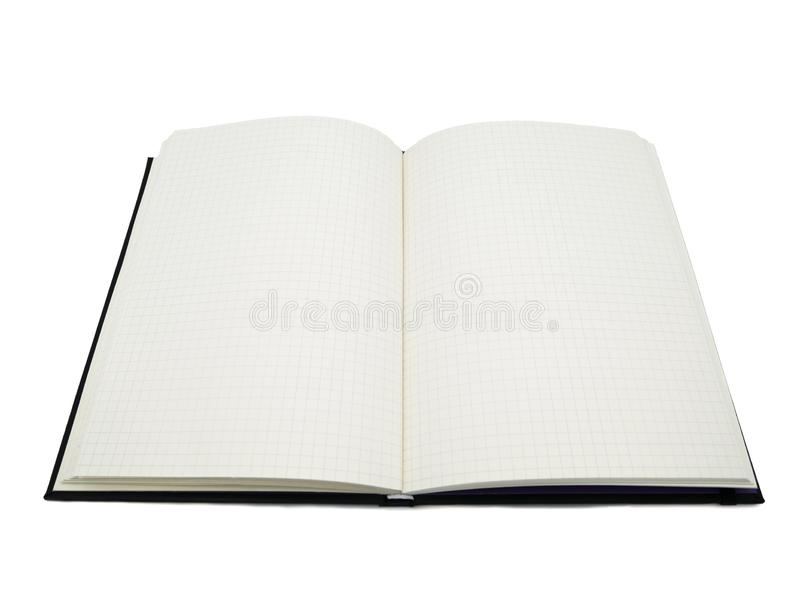 Black notebook, blank graph paper with square lines.it`s open both side of two pages in the white and isolated background royalty free stock image