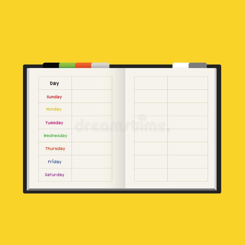Black Notebook Weekly Planner Stock Photos