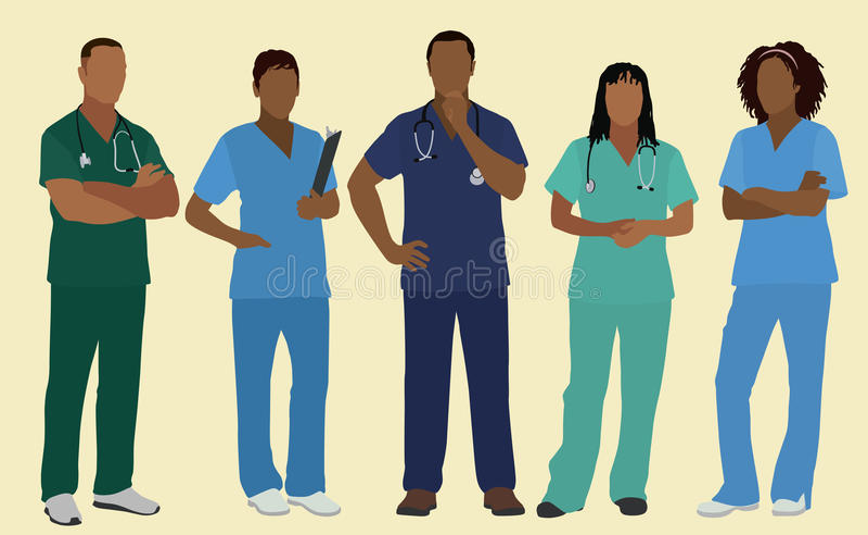 Black Nurses or Surgeons in Scrubs. Five Black or African American Male & Female Nurses or Surgeons wearing scrubs vector illustration