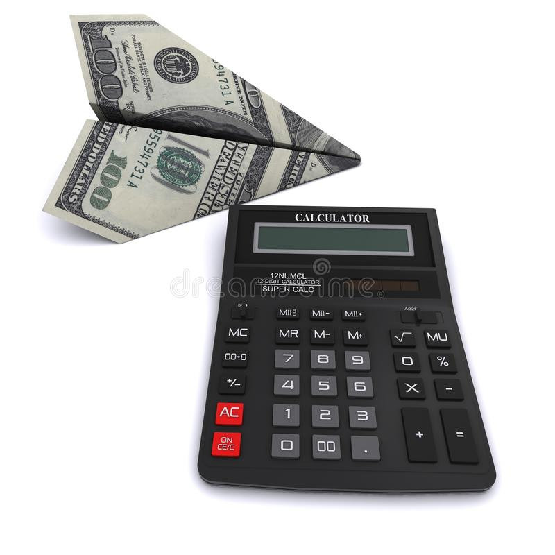 Black office calculator and paper airplane stock photography