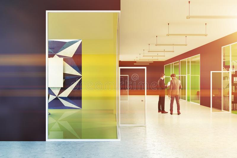 Black Office Lobby With Colorful Walls, People Stock Illustration ...