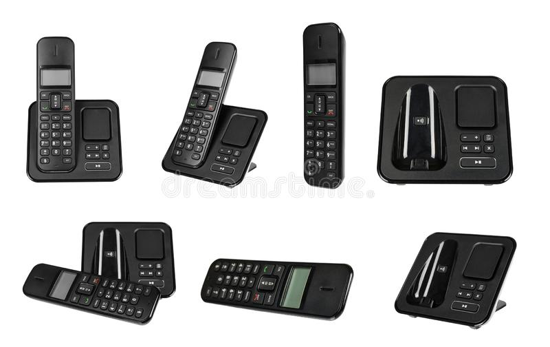 Black office phone, set and collection. Isolated. On white background, telephone, top, desk, landline, view, customer, care, lay, help, flat, voip, business stock photography