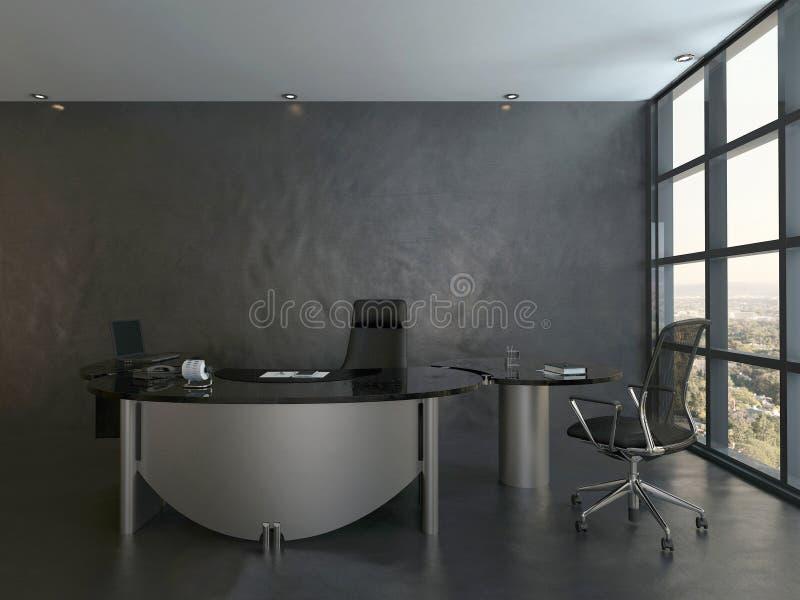 Black office room interior with modern desk royalty free illustration