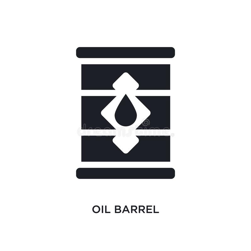 Black oil barrel isolated vector icon. simple element illustration from industry concept vector icons. oil barrel editable logo. Symbol design on white vector illustration