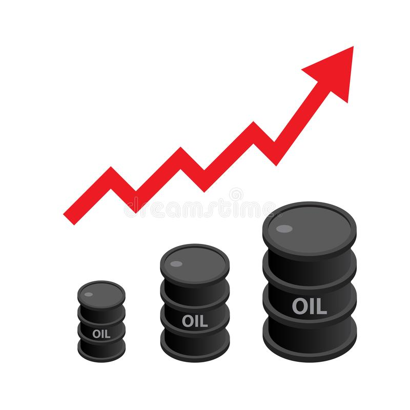 Black oil barrel isometric with red arrow. Concept of increasing crude oil price vector illustration