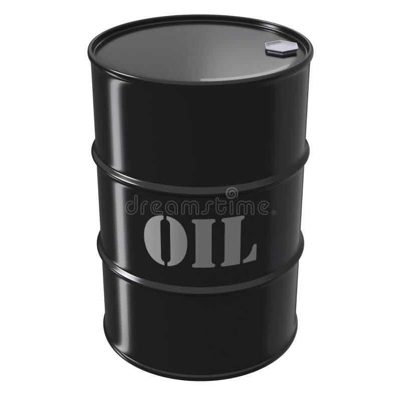 Black oil barrel on white background stock illustration