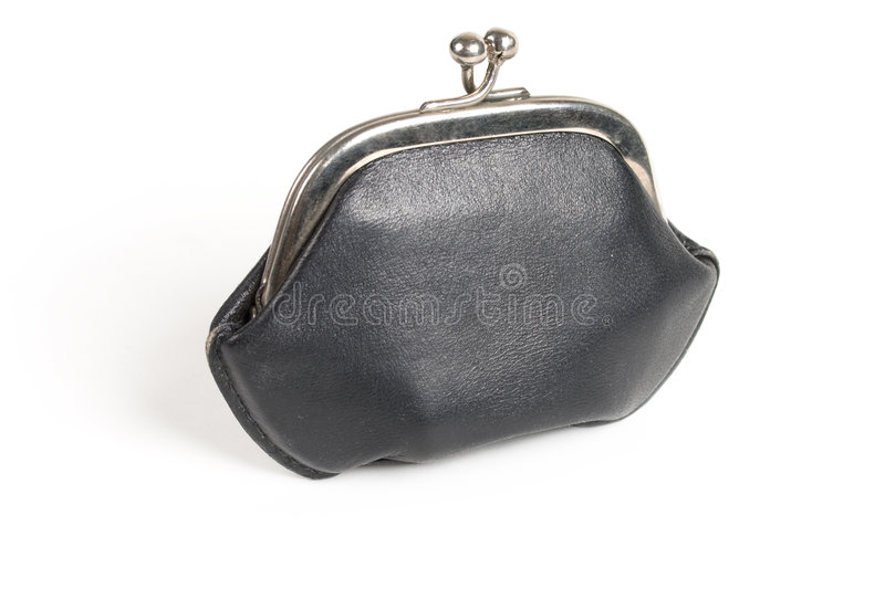 Black old style wallet. With metall lock stock image