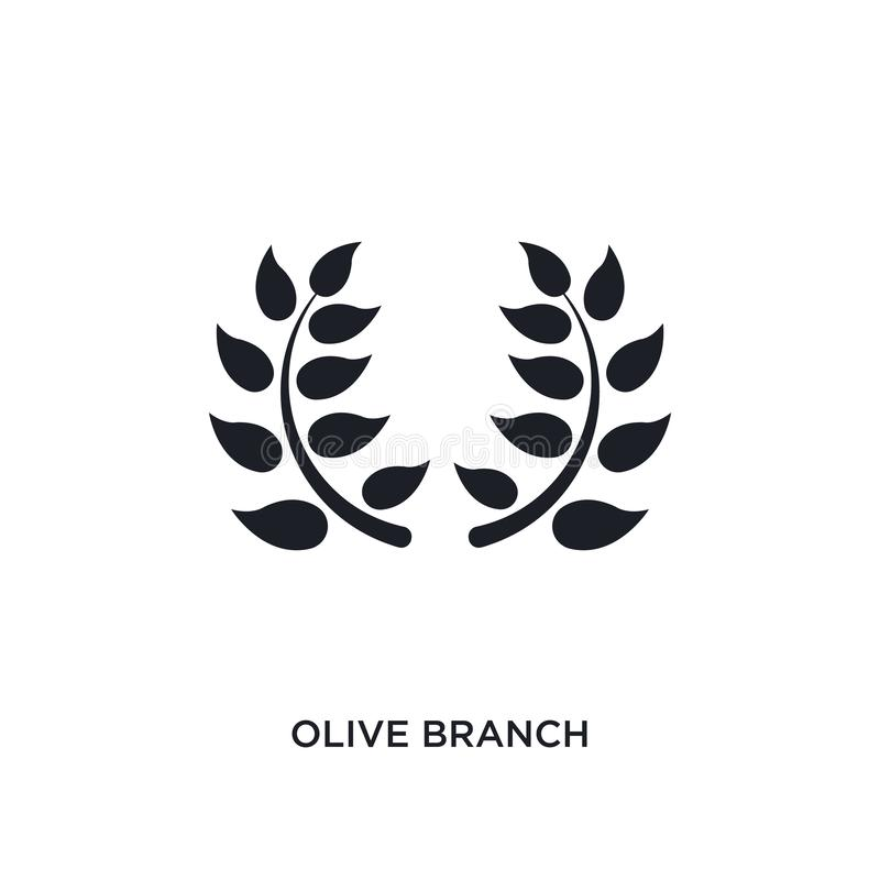 black olive branch isolated vector icon. simple element illustration from religion concept vector icons. olive branch editable royalty free illustration