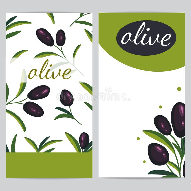 Black olive branches. Banner design for olive oil, natural cosmetics stock illustration