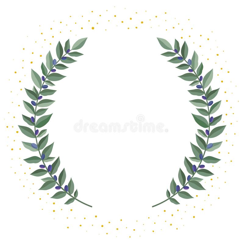 Black olive branches wreath on a white background with golden dust. Frame from olive leaves. Vintage wreath heraldic royalty free illustration