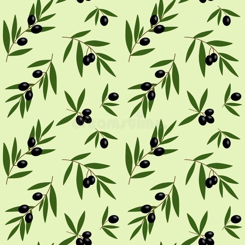 black olives branches with green leaves oil pattern on light green background seamless vector vector illustration